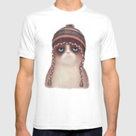 Christmas Cat Mens Fitted Tee White SMALL