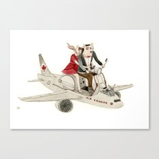 Cat and Wolf hit the road Canvas Print