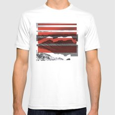 Red Terrain White Mens Fitted Tee SMALL