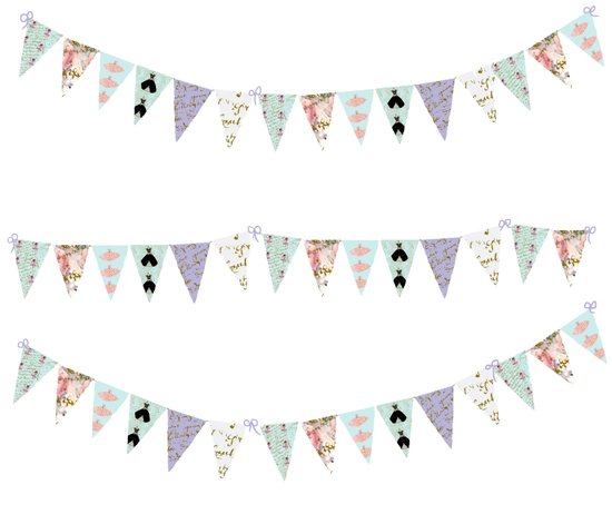 French Script Bunting Art Print