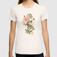 Vintage floral watercolor background Womens Fitted Tee Natural SMALL