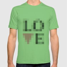 Exaggerated Pixelated LOVE Mens Fitted Tee Grass SMALL