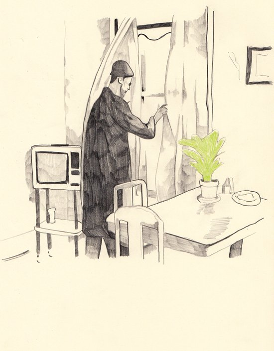 Léon with house plant Art Print