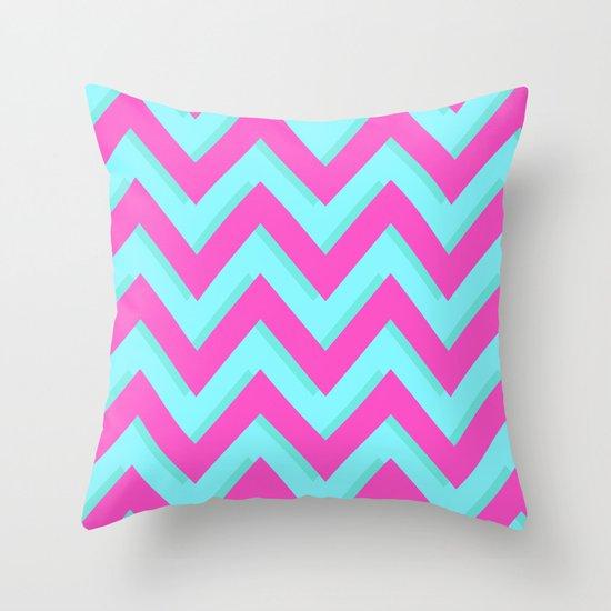 3D CHEVRON TEAL & PINK Throw Pillow