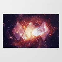 Area & Throw Rug featuring Shining Nebula - Red by Stefan Trudeau