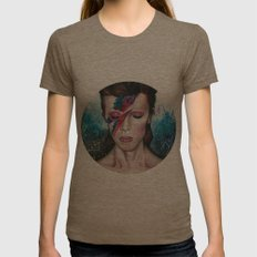 Mr Bowie  Womens Fitted Tee Tri-Coffee SMALL