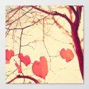 Autumn tree over yellow Canvas Print