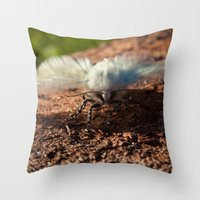 Snowy Moth Throw Pillow