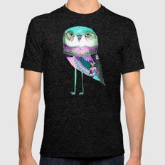 Owl Print Mens Fitted Tee Tri-Black SMALL