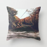 Kenisis lake fall road Throw Pillow