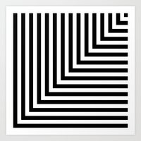 Black and White L Stripes // www.pencilmeinstationery.com Art Print