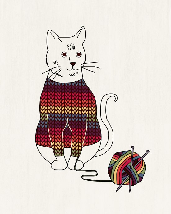Knitted Cat Art Print