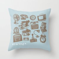 Blue Vintage  Throw Pillow