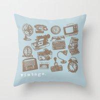 blue vintage  Throw Pillow
