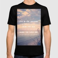 Live in the Sunshine, Swim the Sea Mens Fitted Tee Black SMALL