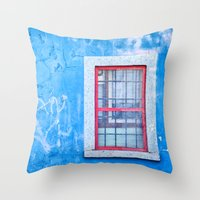 Window With Red Frame On… Throw Pillow