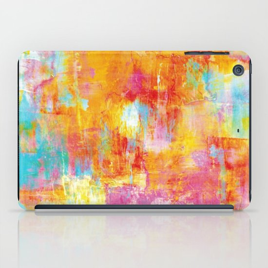 OFF THE GRID Colorful Pastel Neon Abstract Watercolor Acrylic Textural Art Painting Nature Rainbow  iPad Case