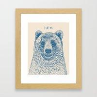 Bear (Ivory) Framed Art Print