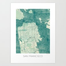 San Francisco Map Blue V… Art Print