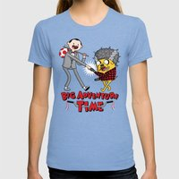 Time For A Big Adventure Womens Fitted Tee Tri-Blue SMALL