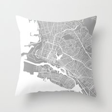 Oakland CA map grey Throw Pillow