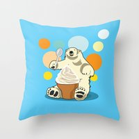 Polar bear's summer time Throw Pillow