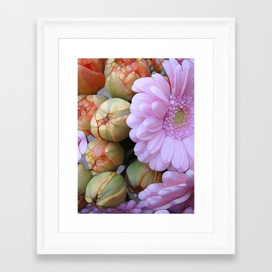 Daisy Loves Tulips Framed Art Print