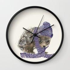 little winter hedgehog Wall Clock