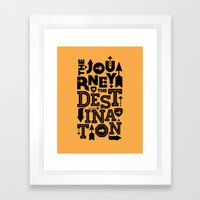 Orange Journey Quote Framed Art Print