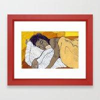 the Bed Framed Art Print