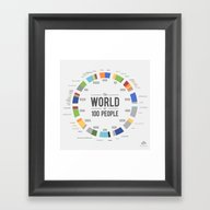 Framed Art Print featuring The World As 100 People … by Jack Hagley