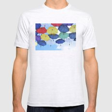 many colorful hanged umbrella against blue sky Mens Fitted Tee Ash Grey SMALL