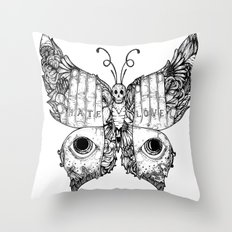 hate love butterfly Throw Pillow