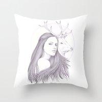 The White Deer Throw Pillow