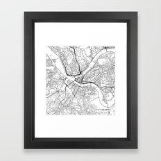 Pittsburgh Map, USA - Black and White Framed Art Print