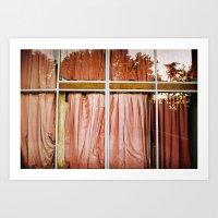 pink curtains Art Print