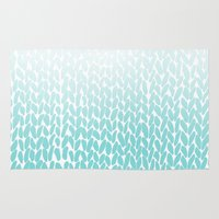 Hand Knitted Ombre Teal Rug