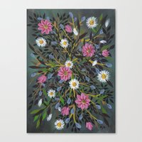 Teal Flowers Canvas Print