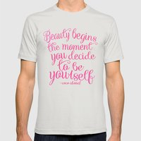 be yourself.  Mens Fitted Tee Silver SMALL