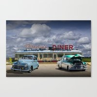 Classic Rosie's Diner with Vintage Automobiles near Rockford Michigan Canvas Print