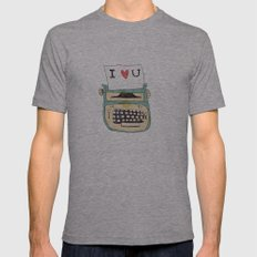I love typewriters Mens Fitted Tee Athletic Grey SMALL