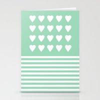 Heart Stripes Mint Stationery Cards