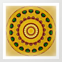 Golden Jewel With Emeral… Art Print