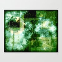 forest memories in green with Abstract shapes Canvas Print