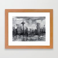 Seattle Skyline Painting Watercolor Black and White Space Needle Framed Art Print