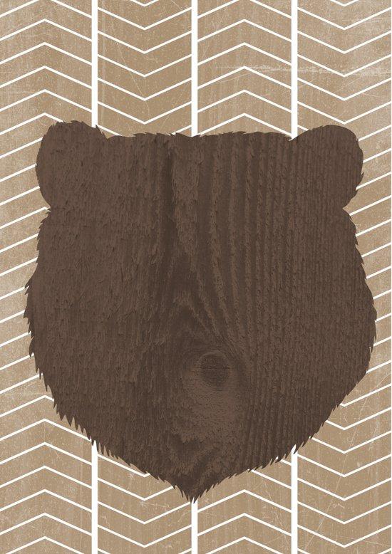Wooden Bear Head Aztec Art Print