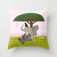 The Elephant and The Eagle Throw Pillow