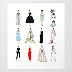 Outfits of Audrey Hepburn Fashion Art Print