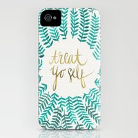 iPhone Cases featuring Treat Yo Self – Gold & Turquoise by Cat Coquillette