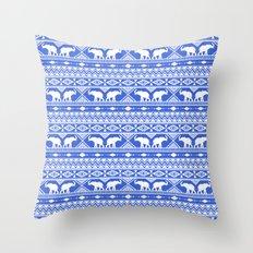 Elephant Tribal Blue Throw Pillow